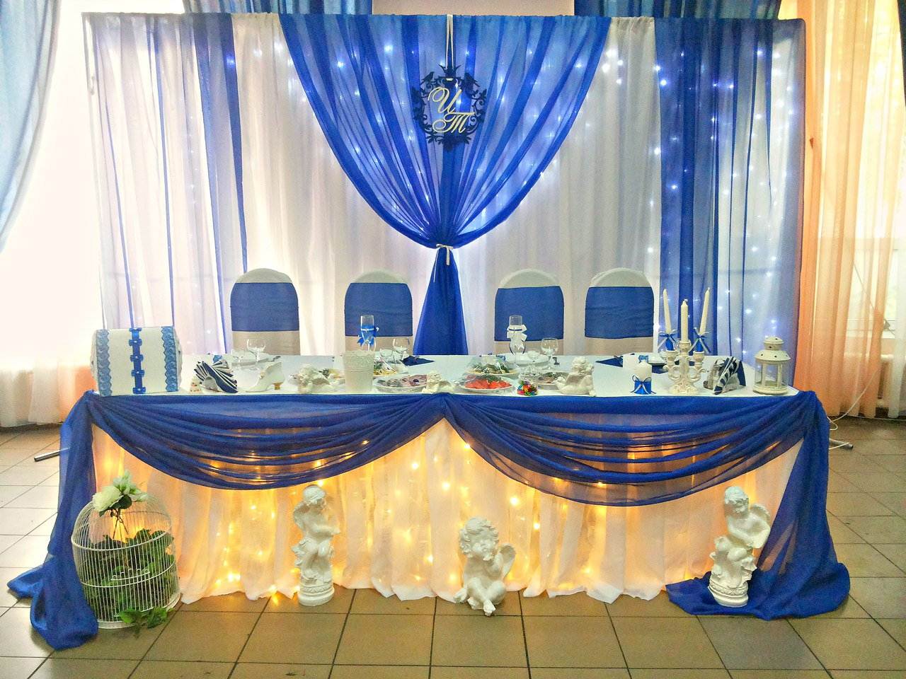 Самый популярный цвет в этом свадебном сезоне у нас оказался синийСвадебное оформление Танюшки и Ивана 19.08.2016 в