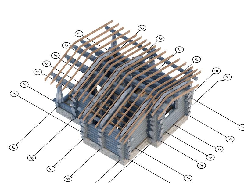 Бесплатно проект сруба бани из дикого сруба для производства и рубки