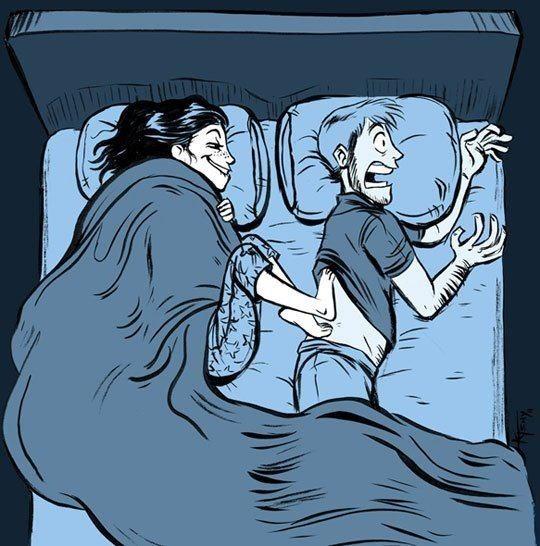..Если муж УСНУЛ пораньше - не печалься и не злись ... Ты ХОЛОДНЫМИ ногами быстренько к нему прижмись!...