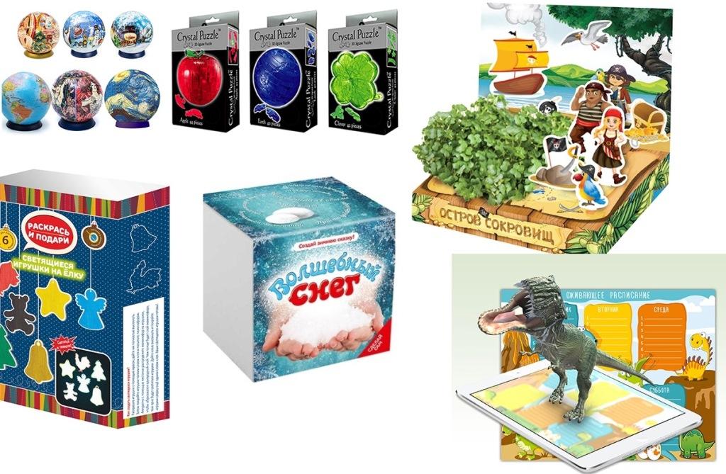 Необычные сувениры и игрушки - 3D раскраски и пазлы, живые открытки, наборы для выращивания, магнитная мозаика, географические пазлы, волшебный снег и многое другое