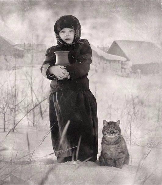 Девочка с крынкой и котом...