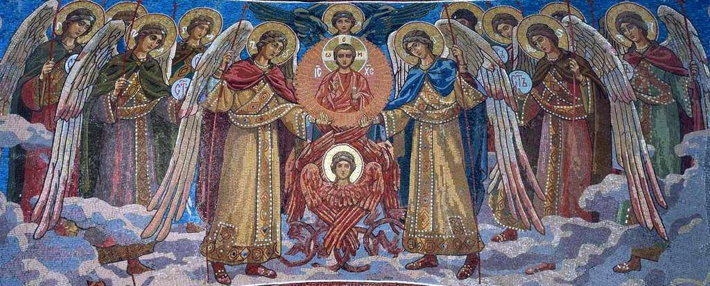 Величаем вас, Архангели и Ангели, и вся воинства, Херувими и Серафими, славящия Господа!