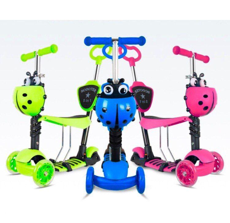 Хит весны! Музыкальные детские самокаты 3 в 1,  5 в 1 , макси со светящимися колесами!