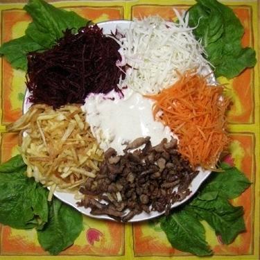 Салат из моркови капусты свеклы и говядины