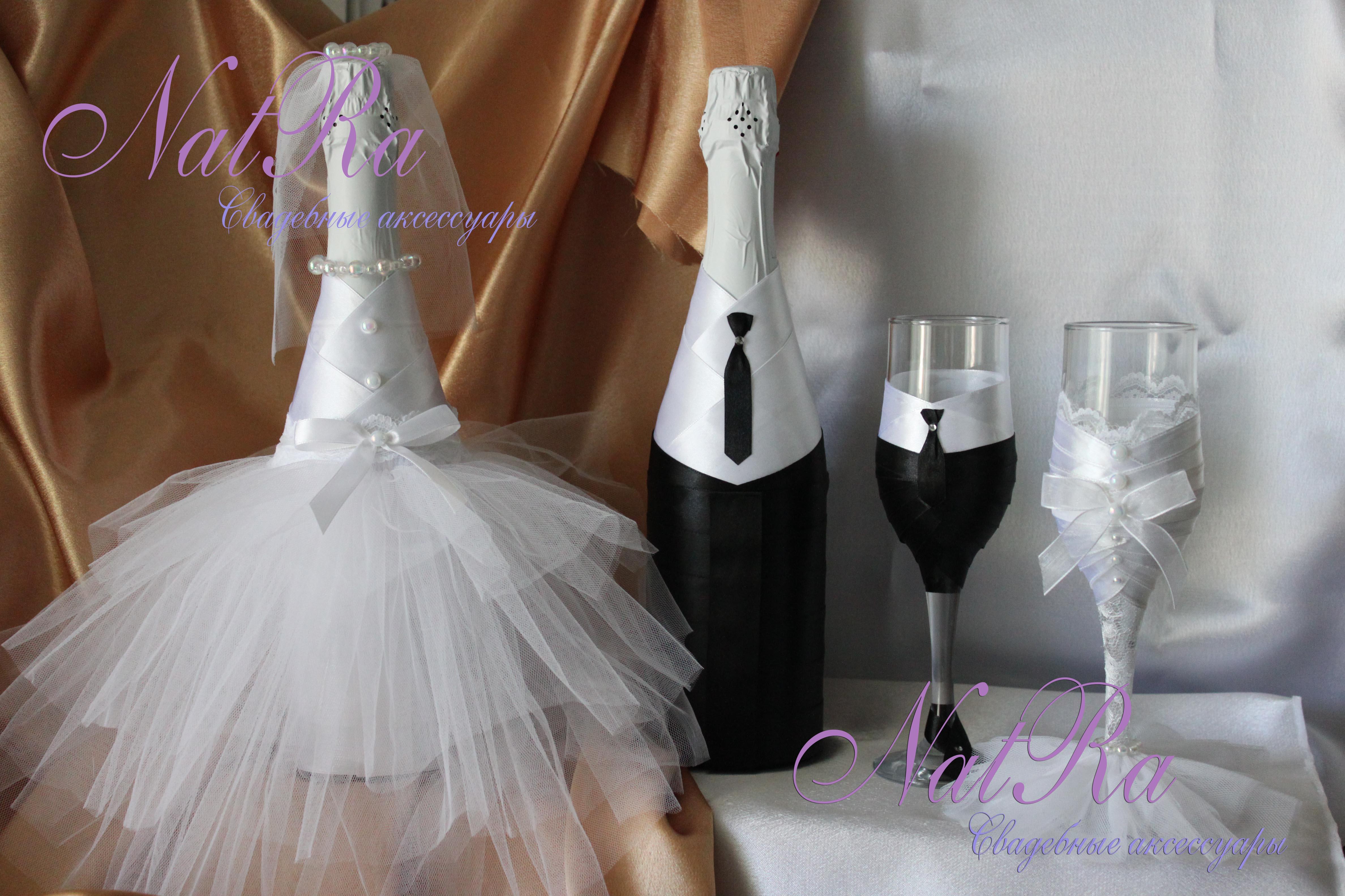 Свадебное шампанского украшение своими руками