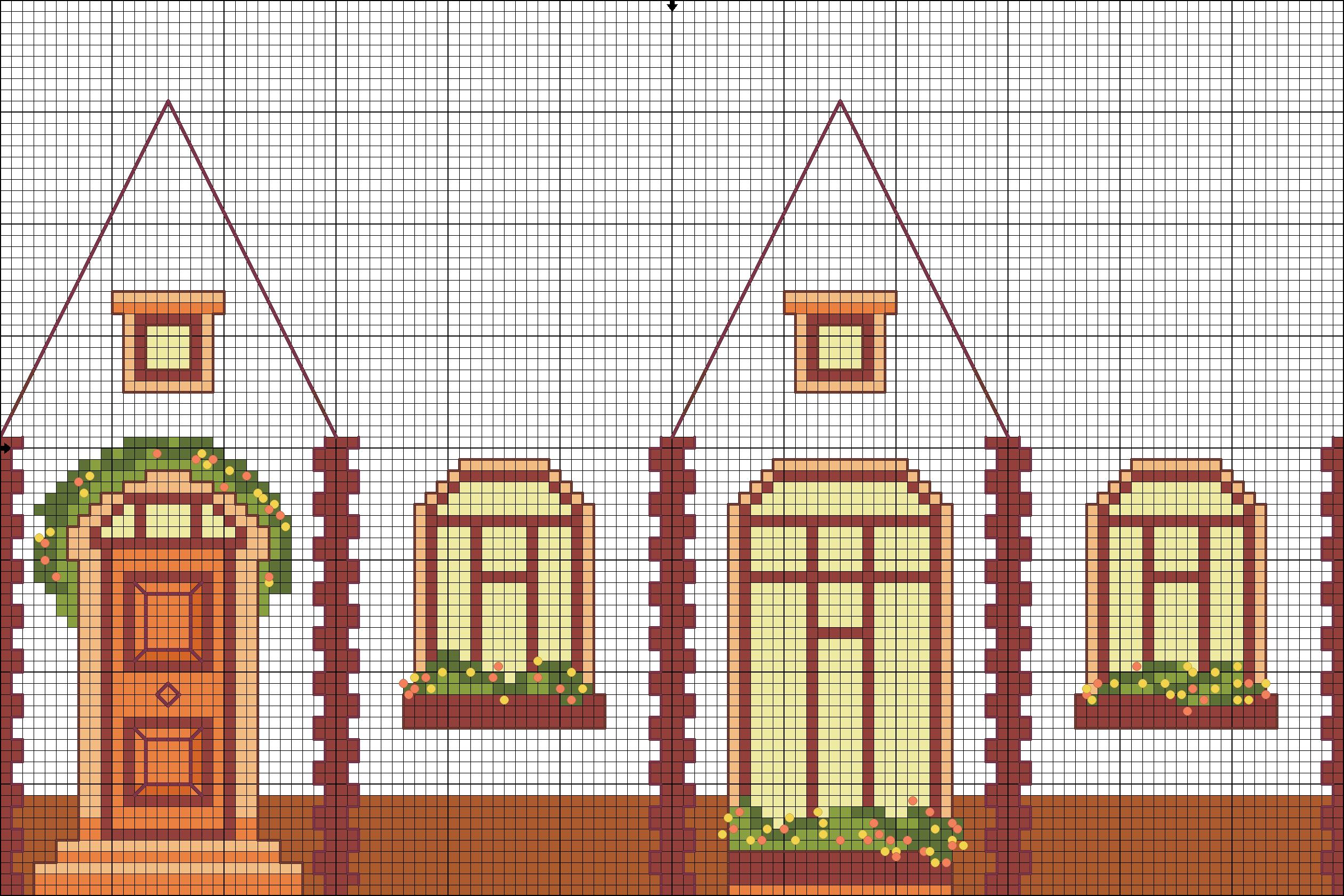 Вышивка схемы объемные домики 68