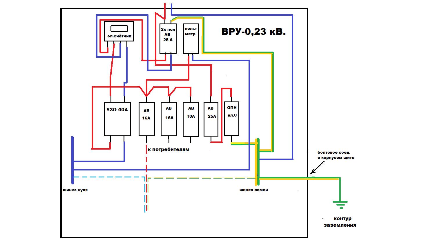 схема подключения узип 1 2