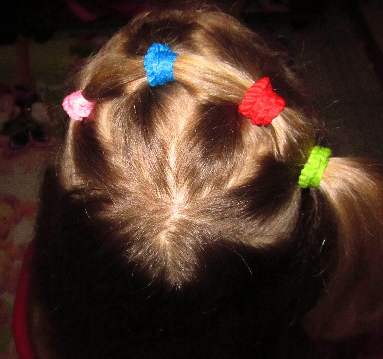 Прическа для девушек из маленьких резиночек
