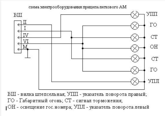 схема проводки для прицепа