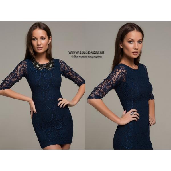 Кружевное темно синее платье с чем носить