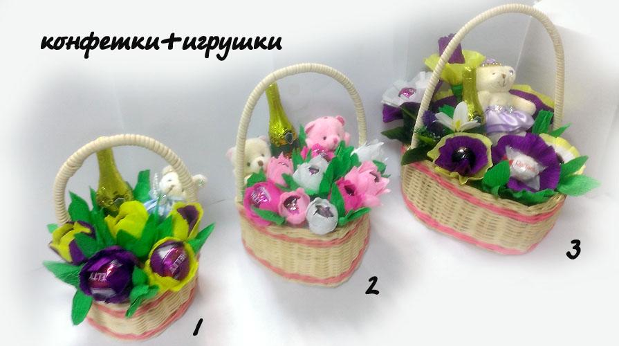 Букеты из конфет и игрушек своими руками в корзинке