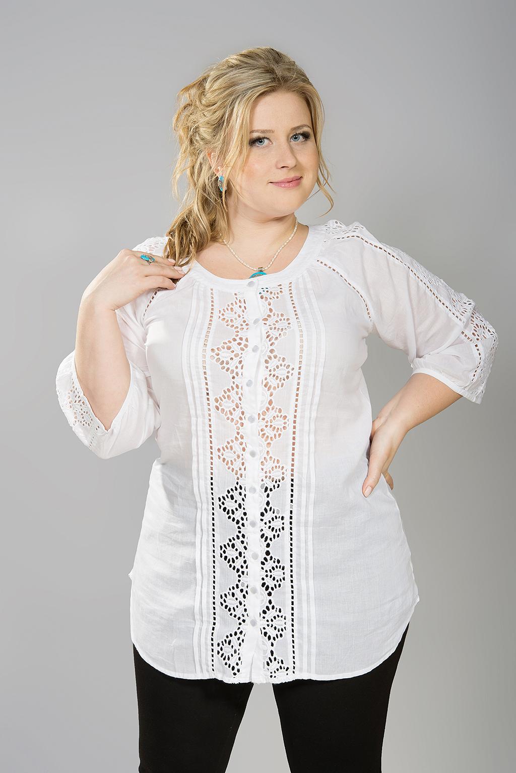 белые блузки для полных женщин купить