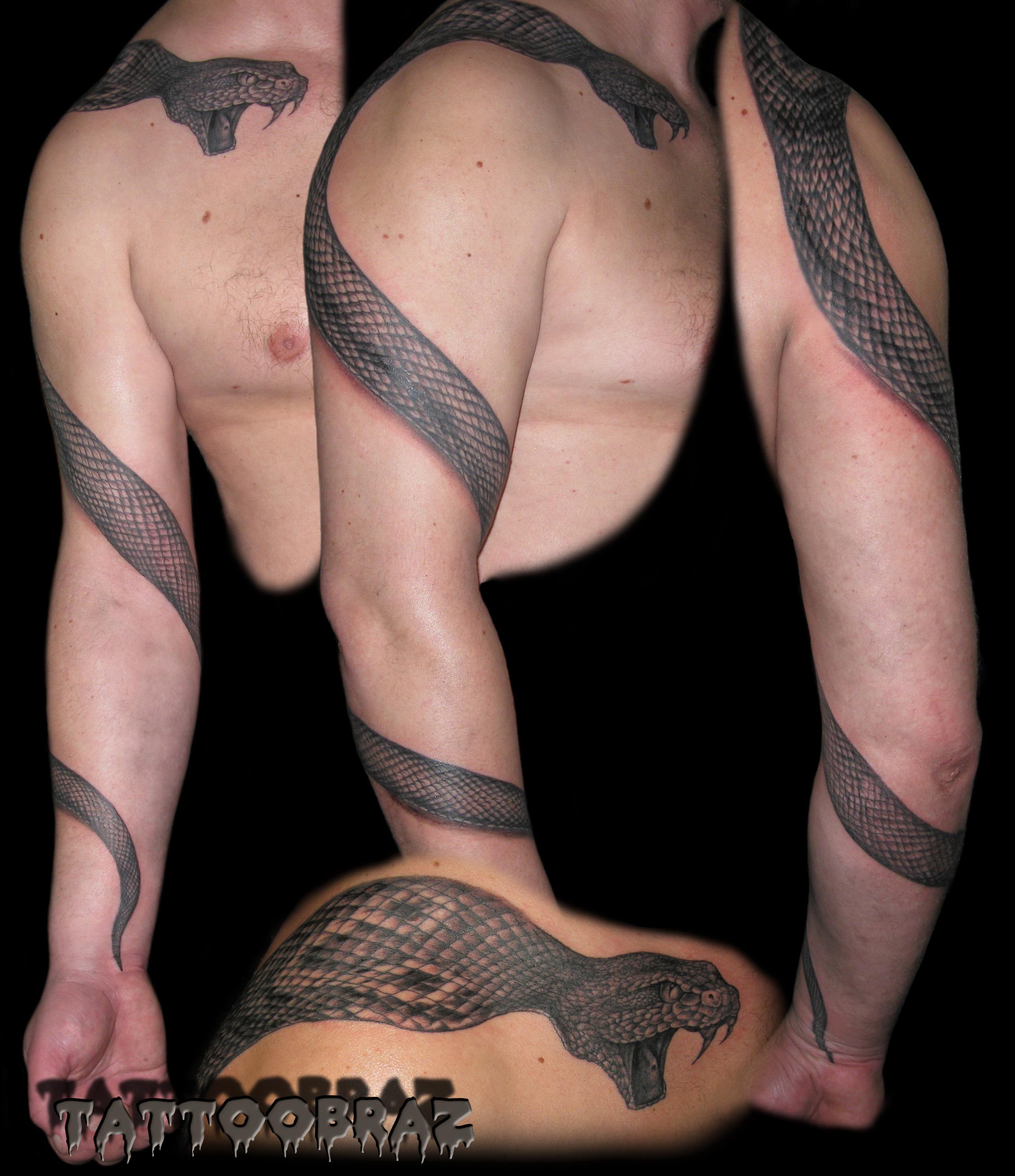 Татуировка змеи на руке мужские