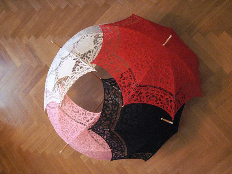 Свадебный зонт из кружев своими руками