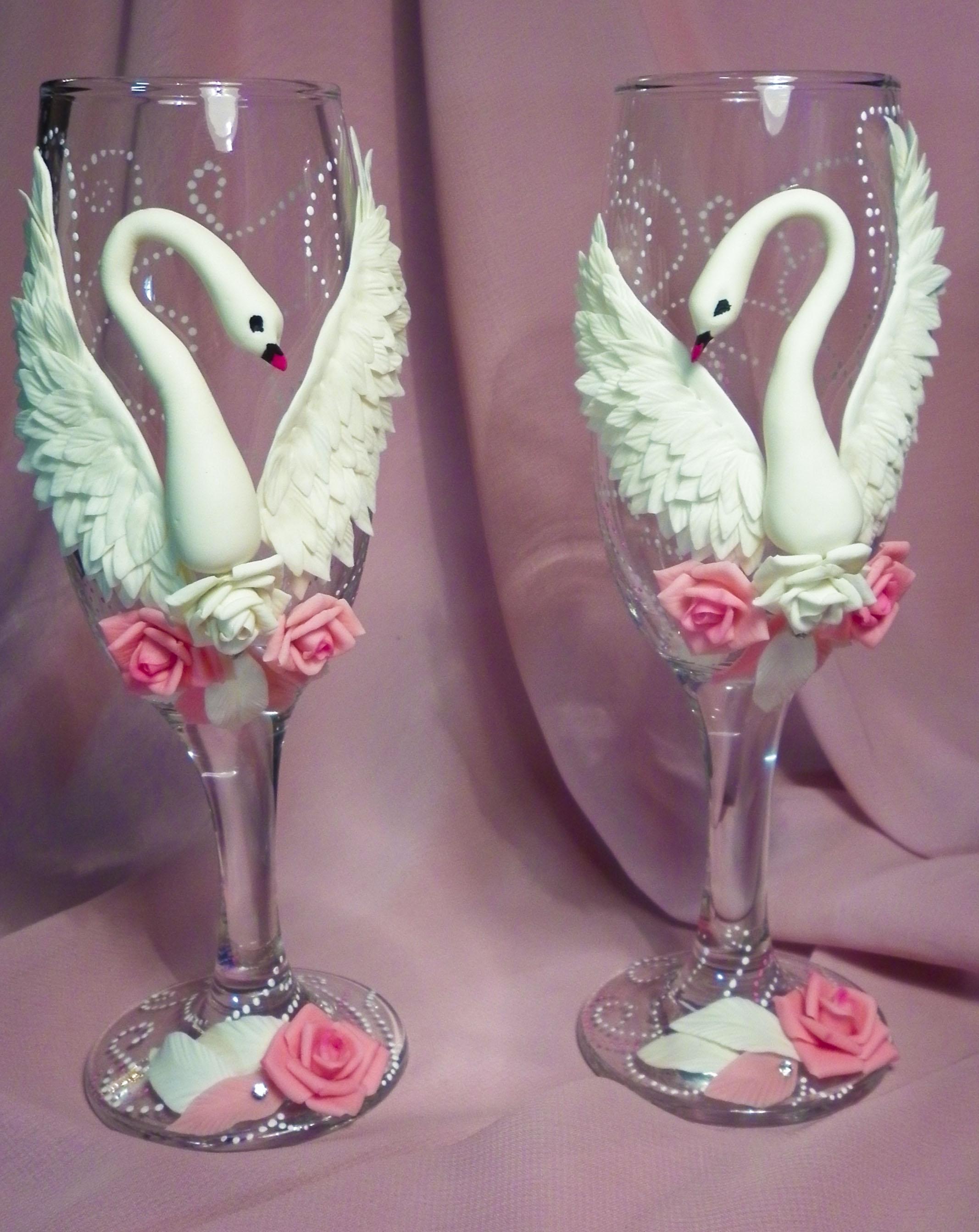Свадебные бокалы  глина