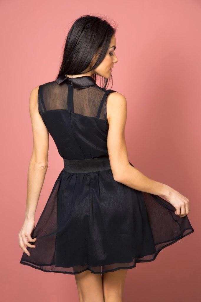 Платье черное с бантом