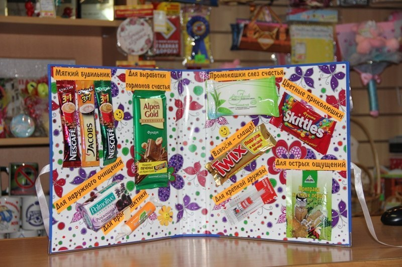 Подарок своими руками на день рождения со сладостями фото