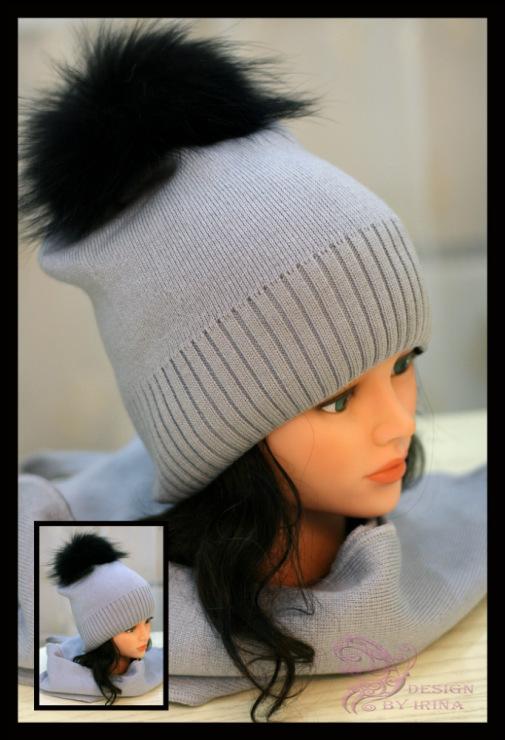 Вязанная шапка из натурального меха