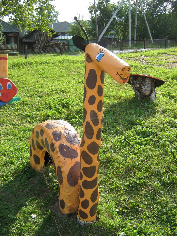 Жираф из бревна своими руками