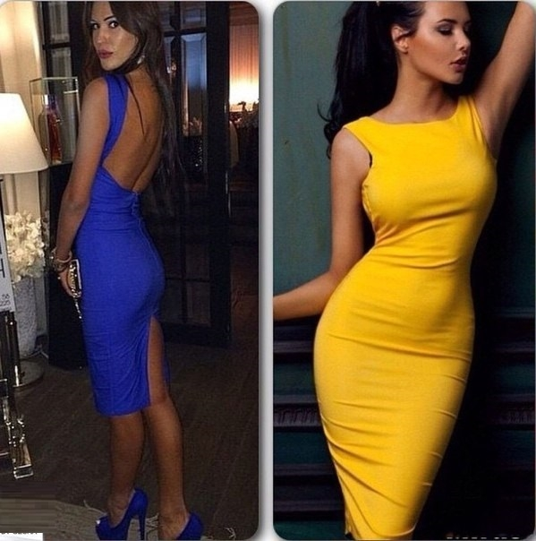 Платье футляр с открытой спиной