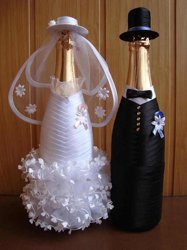 Украшения свадебных бутылок шампанского своими руками фото