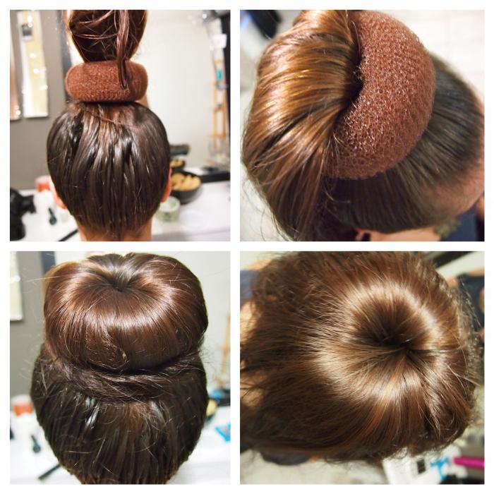Прически на средние волос при помощи бублика