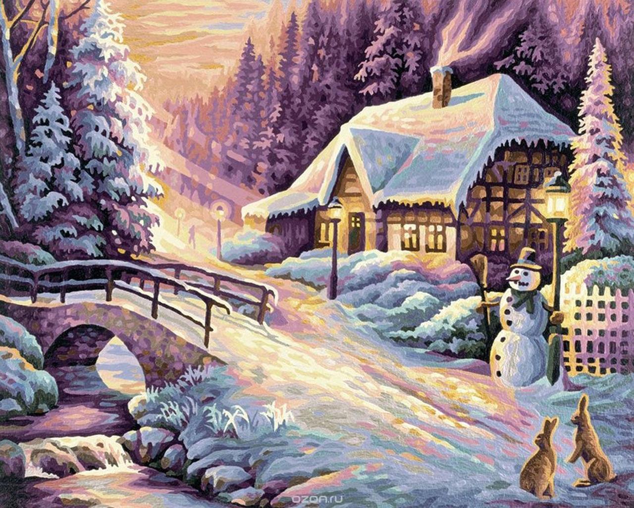 каша зимняя новогодняя картина рисунок отправляете