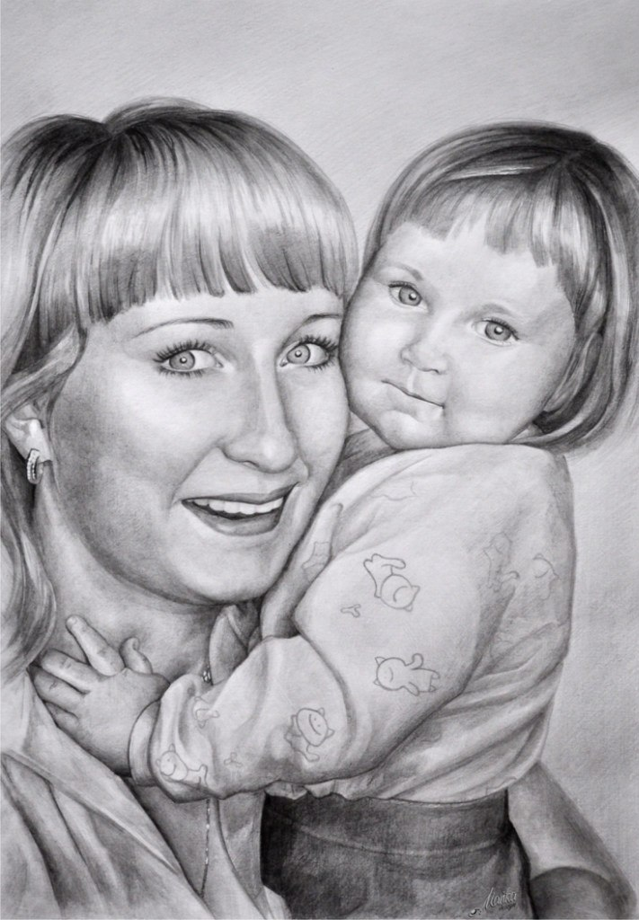 Картинка мама и дочка карандашом