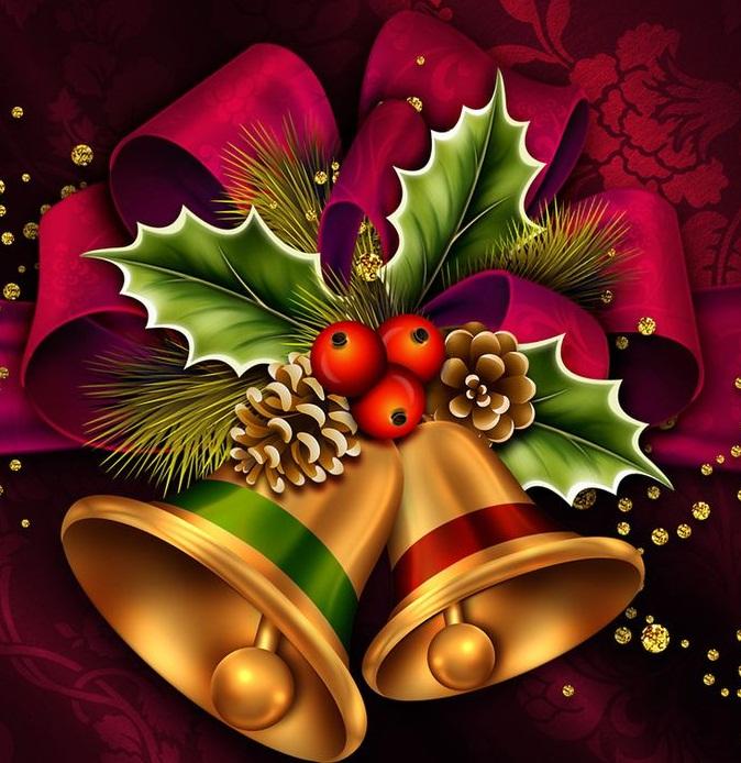 Картинки, открытки с колокольчиками рождественскими