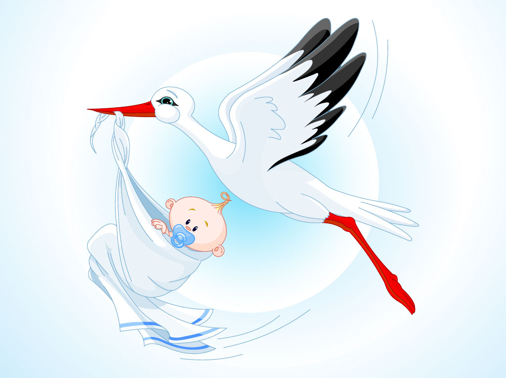Картинки с младенцами красивые с аистом, рождением