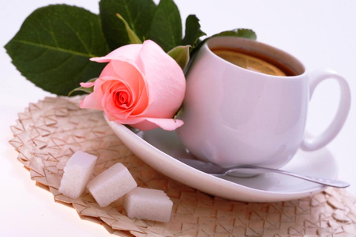 Чашка чая и роза картинки