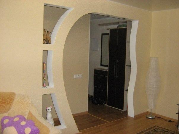 квадратная арка из гипсокартона фото этого