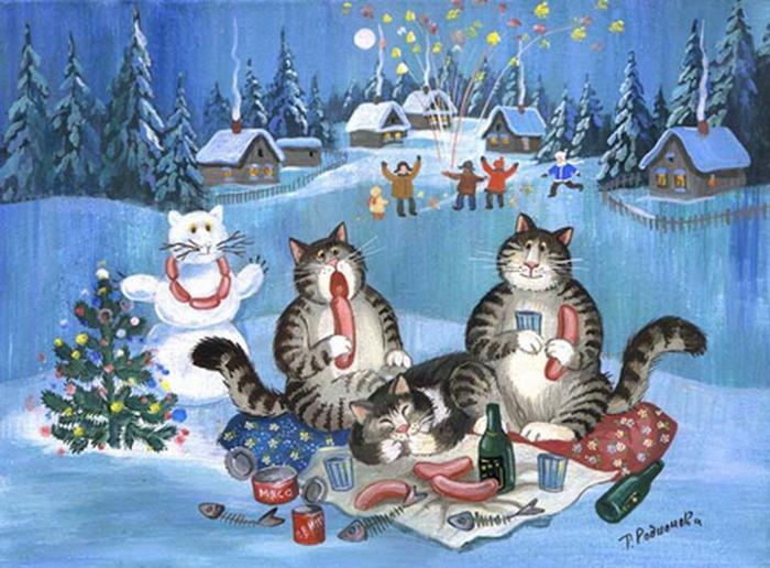 Пожеланием, открытка новый год коты