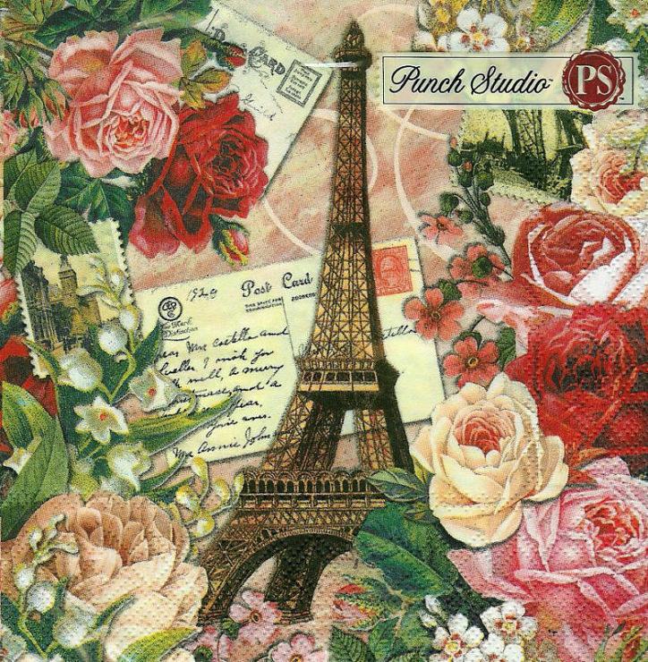Париж стиль в открытках, шаблон днем