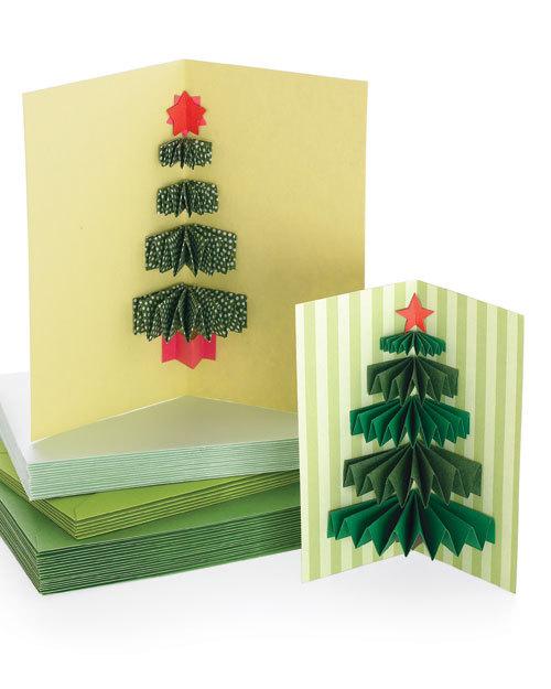 Трубочек, объемные елочки в открытках