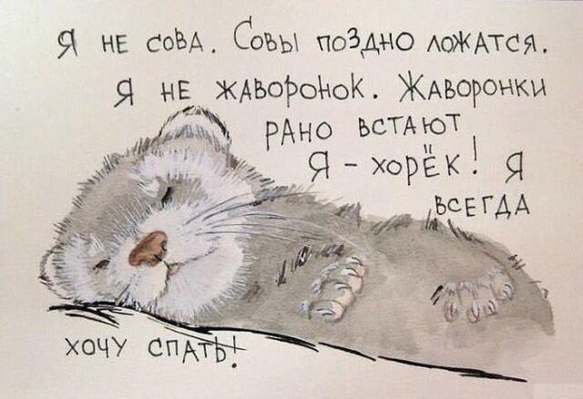 Открытка очень хочется спать