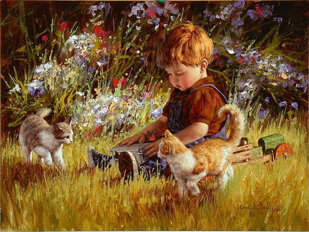 Картинка мальчика с котом для детей