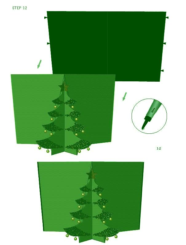 Открытка елочка объемная из бумаги