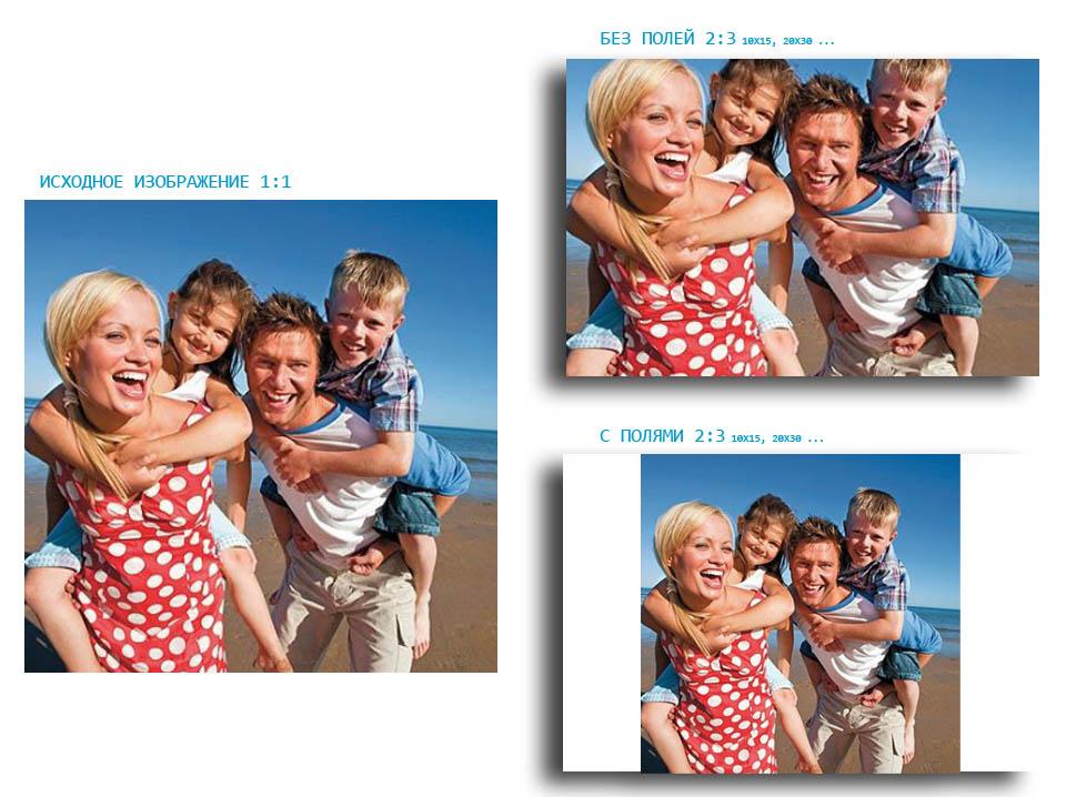 Печать фотографий с белыми полями для постоянного