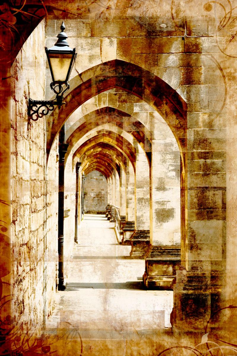 красивая бежевая арка фотообои размытая и фонарь