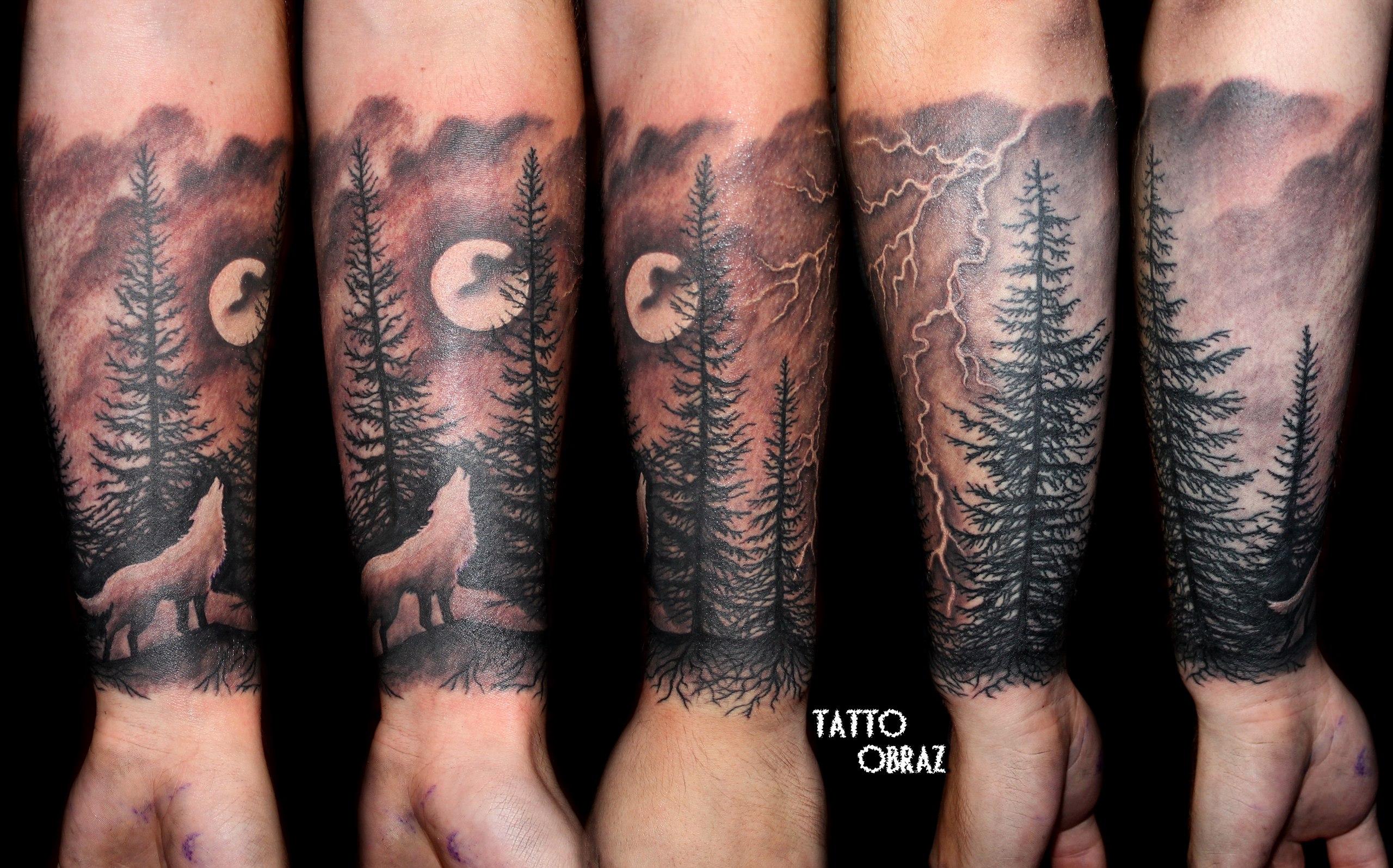 точной тату лес на руке эскиз фото три